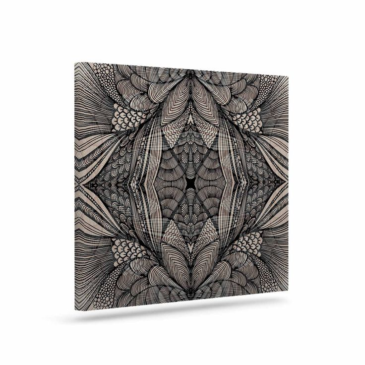 "Gill Eggleston ""Fantazia Black"" Gray Beige Canvas Art"