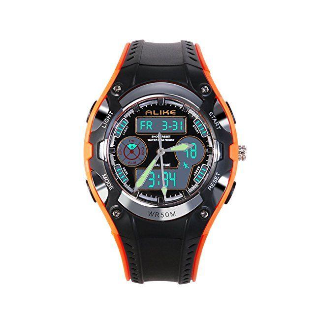 Kids Sports Digital Watch Boys Girls Watches Children Student Analog Quartz Waterproof Watch with Alarm Stopwatch – Orange #boys #watches