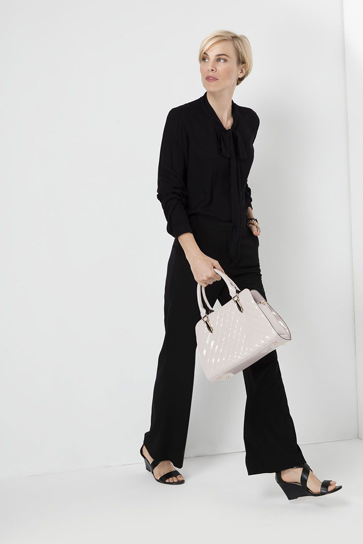 Mix it. Match it. The pussy bow blouse paired with wide leg pants. #monochrome
