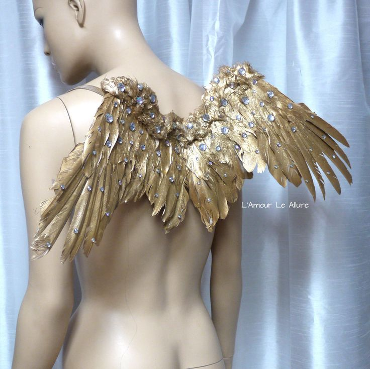 Small Golden Goddess Feather Wings Backpack, Angel Wings, Carnival, Dance, Rave, Burlesque Costume, Kids Adult Photo Prop cosplay by LamourLeAllure on Etsy