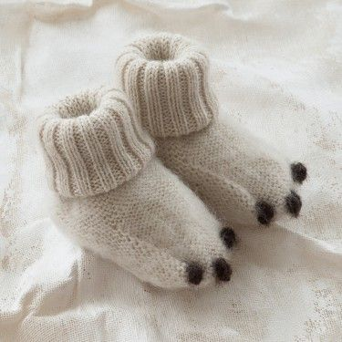Polar Bear socks/slippers. Make these from recycled sweaters.
