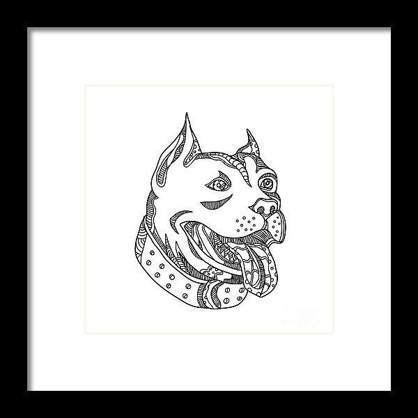 Doodle Framed Print featuring the digital art Pit Bull Head Doodle Art by Aloysius Patrimonio