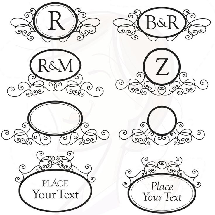 Monogram frames digital swirls clip art instant download for Free monogram template