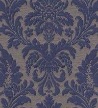 Papel Pintado damasco grande azul y gris - 513684