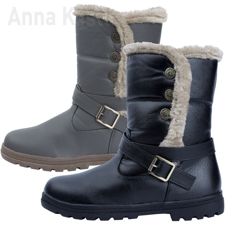 AnnaKastle Womens Faux Fur Lined Trimmed Mid Calf Button Boots Size 5 6 7 8 | eBay