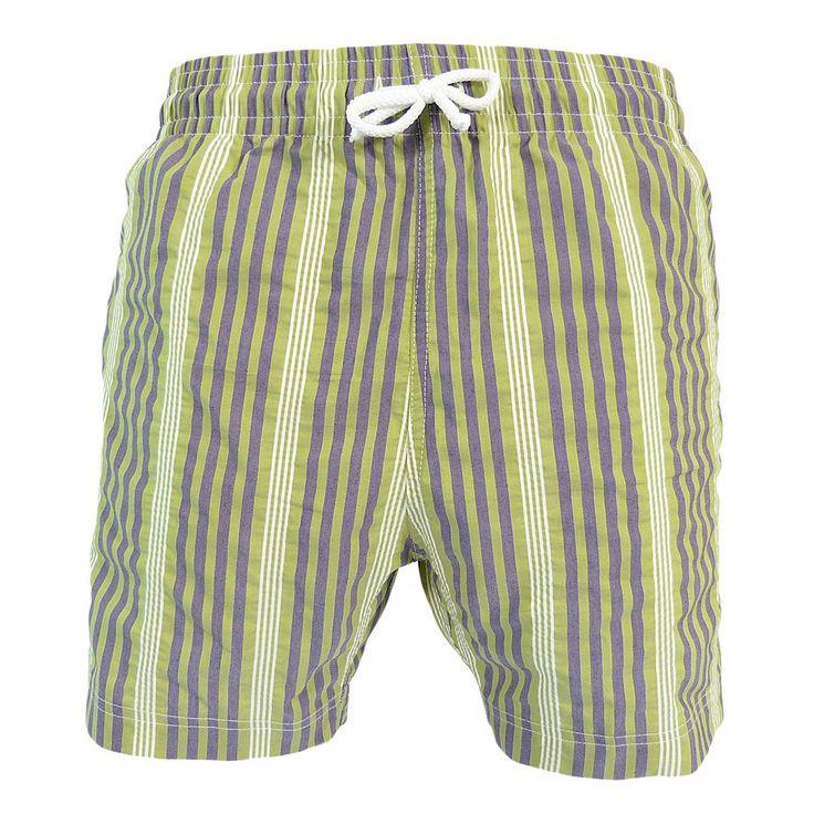 Jules - Maillot short de bain homme vert et violet stripe - Les Loulous de la plage