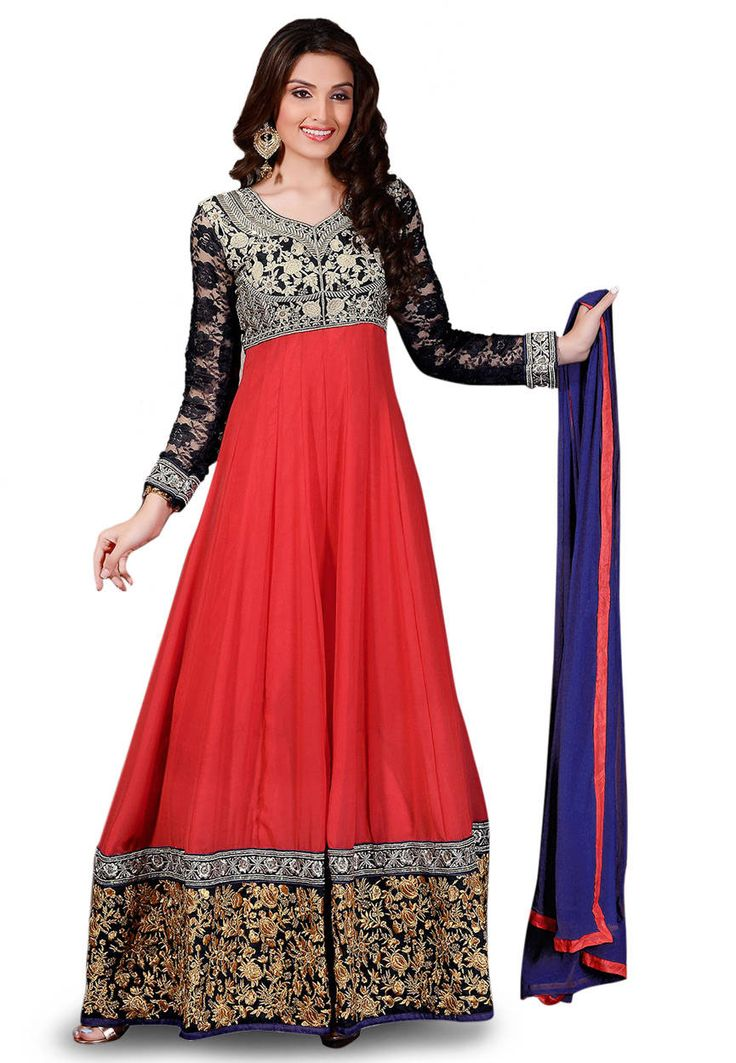 Red and Black Faux Georgette and Art Silk Abaya Style Churidar Kameez