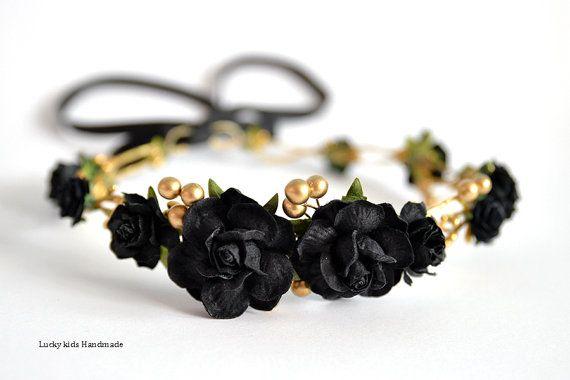 Black flower crown - Black floral hair wreath - Black and Gold crown - Golden Halo - Rose headpiece - Wedding hair accessories - Boho crown