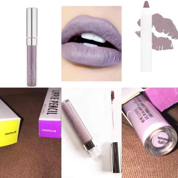 "NIB ColourPop Marshmallow Lipstick & Pencil ColourPop ""Marshmallow"" Ultra Satin Liquid Lipstick & coordinating Lippie Pencil. Color described as: a ""greyed out lavender."" It's a muted, light-medium lavender with strong, cool gray undertones and a satin finish. The lipstick IS NOT transfer-free but it is long-lasting. ACTUAL COLOR ACHIEVED IS BASED UPON SKIN TONE. Brand new in box. Colourpop Makeup"