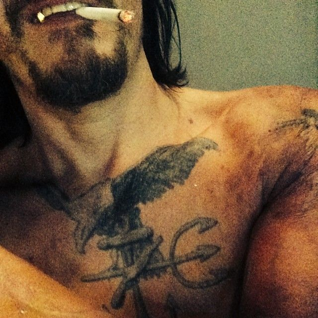Instagram 6/20/14. Tattoo and gold tooth for Triple Nine maybe?? They added some to his facial hair and darkened that up,  too.