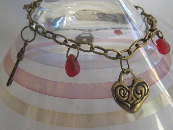 Key to my Heart Boho Gold Charm Bracelet by ZaZing on Etsy, $20.00