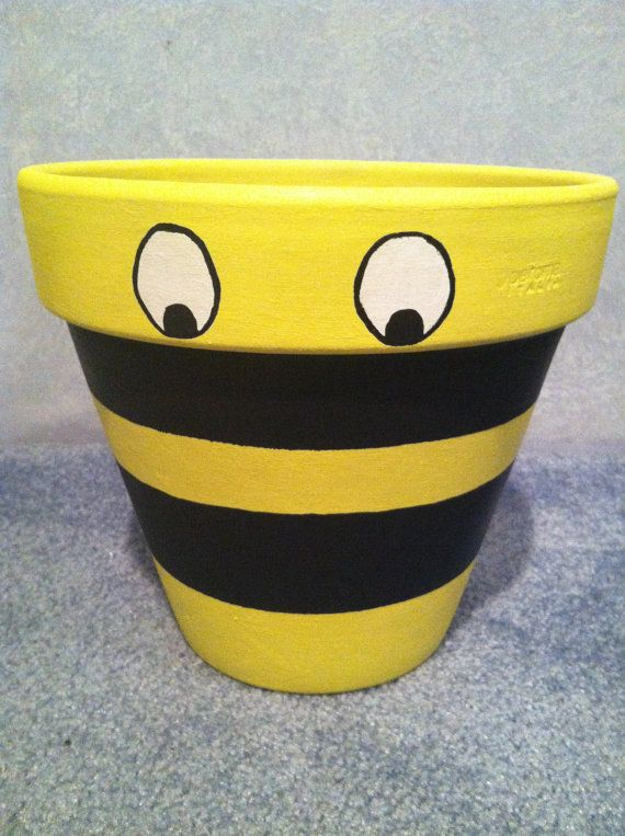 Hand Painted Pot Flower Pot Clay Pot Bumble Bee by LiveLaughLooloo, $22.00