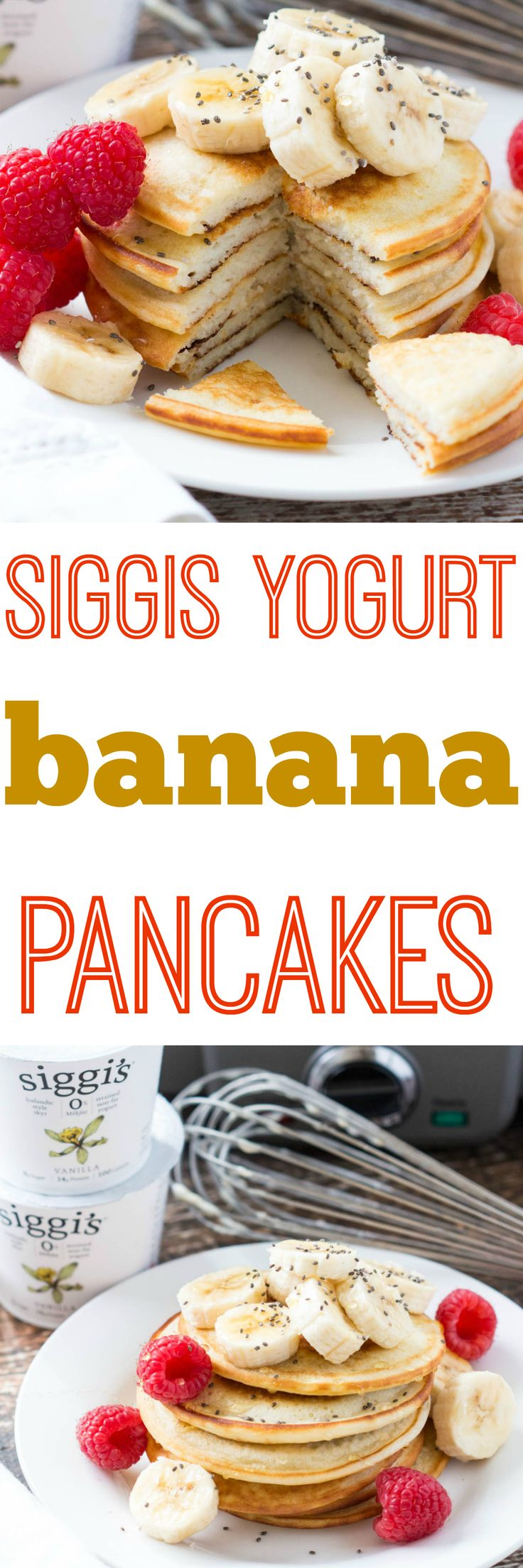 Siggis yogurt banana pancakes hit the spot every time! Fluffy, light, and nutrition packed in each bite. There's no better way to enjoy a weekend breakfast! |Krollskorner.com
