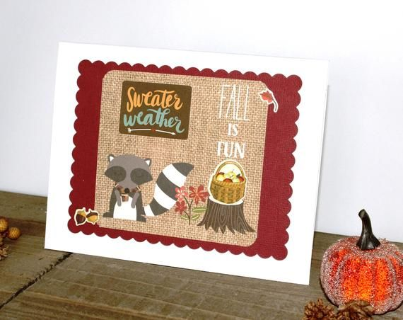 Raccoon Fall Card Leaves Sweater Weather Cranberry White Blank Inside Autumn Free US Shipping