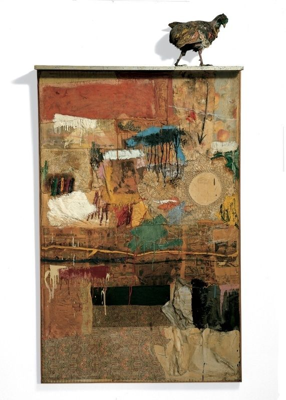 Robert Rauschenberg, Satellite, 1955. Oil, fabric, paper, and wood on canvas with stuffed pheasant, 79 3/8 × 43 1/4 × 5 5/8 in. (201.6 × 109.9 × 14.3 cm). Whitney Museum of American Art