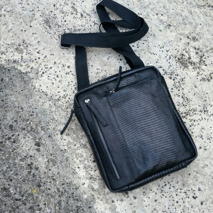 Black lizard varan bag handmade man style leather