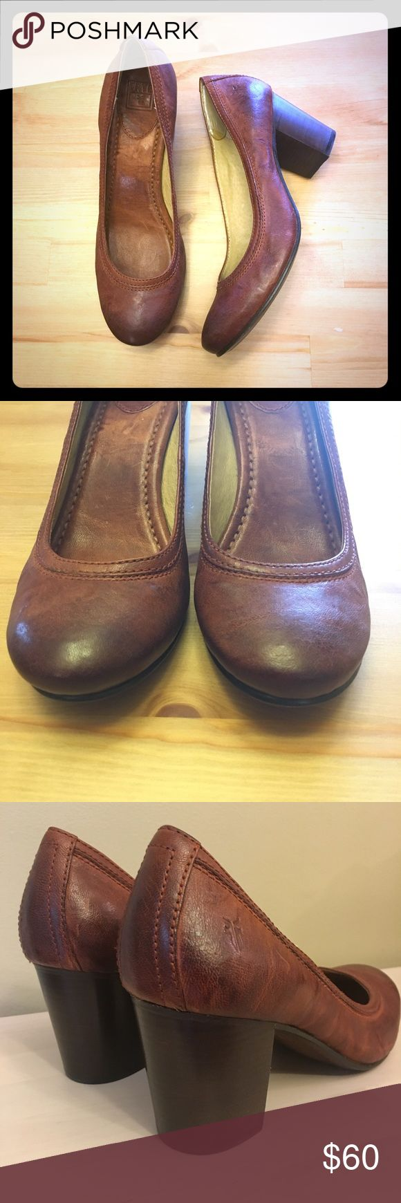 """NWOB Frye 'Carson' Pump These Frye pumps retail over $200- I've not worn them outside the house! They are antiqued/polished dark brown leather. 3"""" wooden block heel. I put heel grippers in them as they were too big for me, see photo. Could be easily removed. Frye Shoes Heels"""