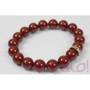 Pulsera Perla Burdeos  Elegante pulsera de perlas de cristal Swarovski, de color Burdeos marrón,de 10mm y con un rondelle de cristal del mismo tamaño.