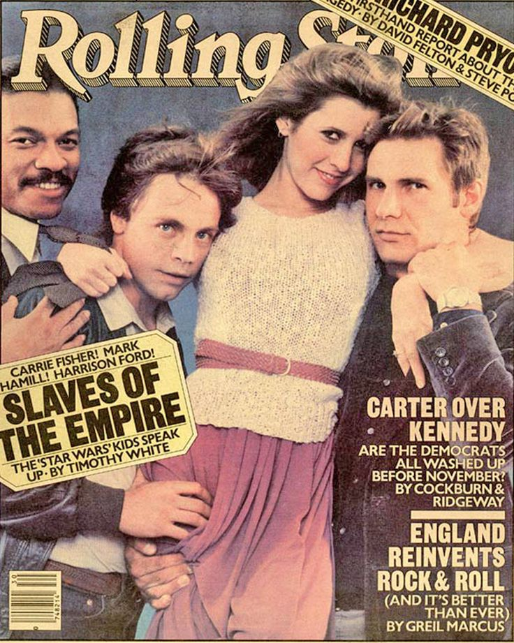 Billy Dee Williams, Mark Hamill, Carrie Fisher, and Harrison Ford on the cover of Rolling Stone