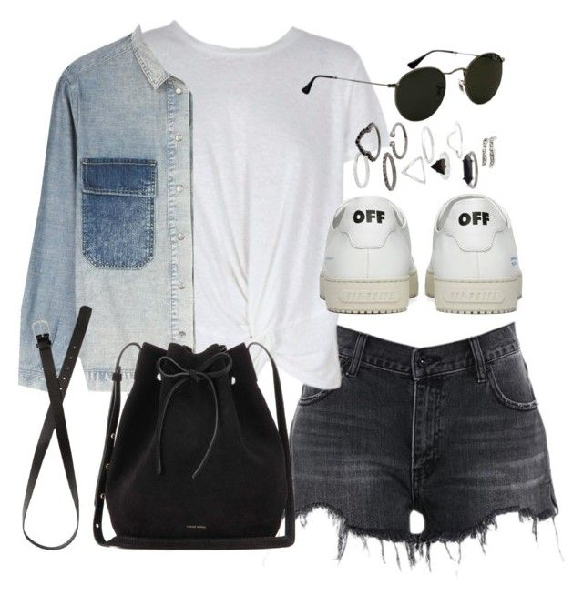 """Outfit for spring with shorts and a denim jacket"" by ferned on Polyvore featuring MINKPINK, Off-White, M.i.h Jeans, H&M, Mansur Gavriel, Topshop and Ray-Ban"