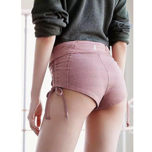 Lucky Deal $12.25, Buy 4 Colors Available Classical Women's Yoga shorts Side strings Ribbed fabric Adjustable Ties Butt Drawstring Gym Yoga Pole Fitnes