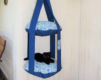 Árbol del gato al aire libre, azul pacífico y Osbourne, Kitty nivel 2 nube la cama del gato, gato cama, muebles para mascotas, árbol del gato, creaciones muebles de colgar