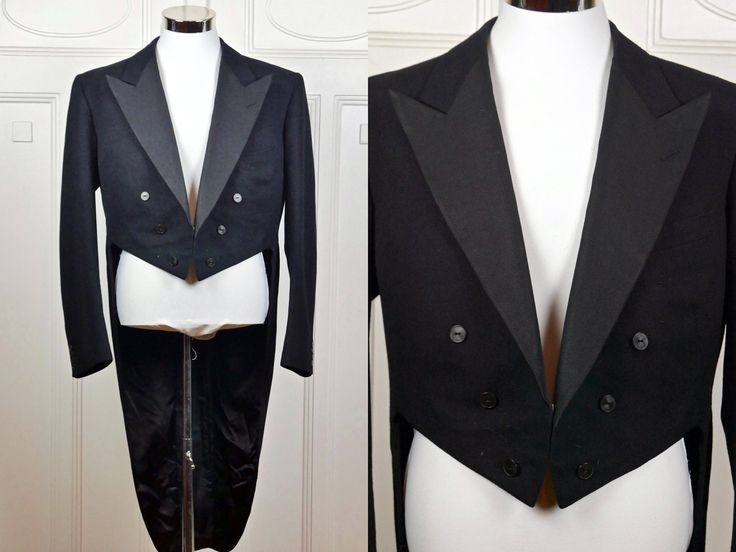 Vintage Black Tailcoat, Evening Jacket Tuxedo w Tails, European Black Formal Full-Dress Tailcoat, Steampunk Jacket: XL, 42 US/UK by YouLookAmazing on Etsy