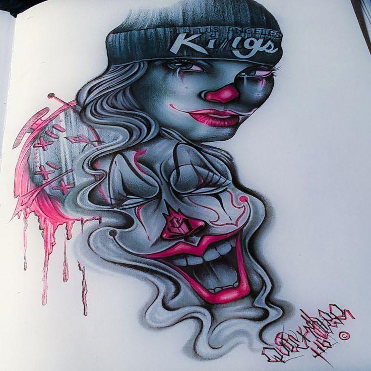 Chicano Art. Lowrider arte. Clowns. Female clowns. Pencil drawings.