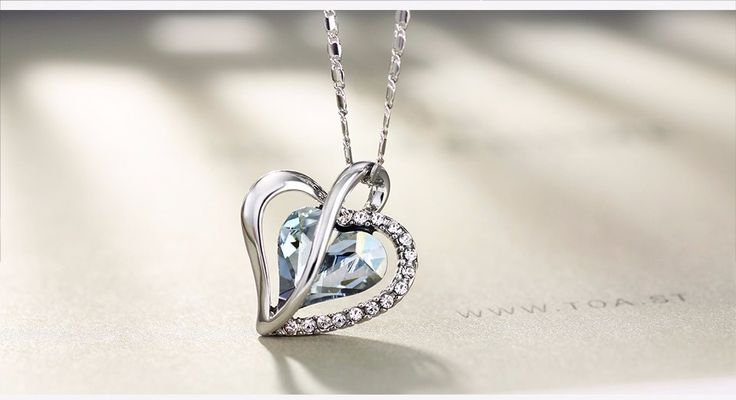 Crystal Blue Shade Swarovski Crystal Elements heart necklace. Get 10% off code: Swa-074