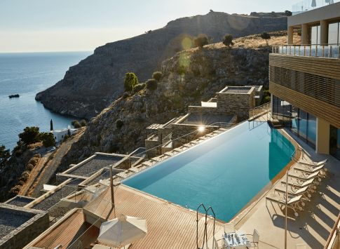 """Lindos Blu - Rhodes A contemporary luxury hotel with ongoing distinctions, minimal modern architectural design, among the best Mediterranean hotels according to British newspaper """"Telegraph""""!"""