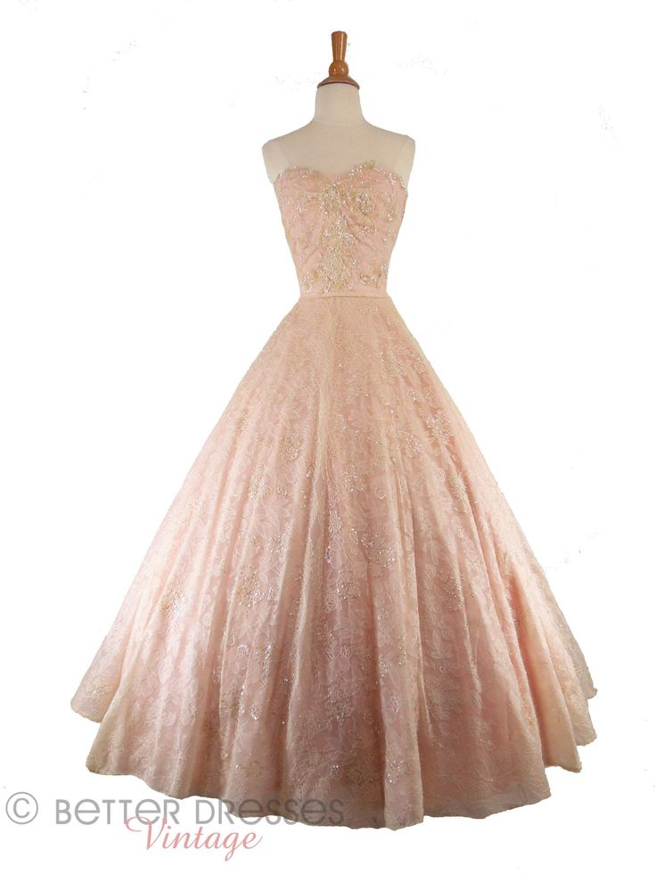 Vintage 1940s 1950s Strapless Ball Gown Pink Chantilly Lace Full Circle Skirt by Better Dresses Vintage