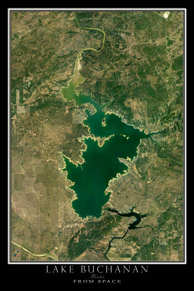 Lake Buchanan Texas From Space Satellite Poster Map