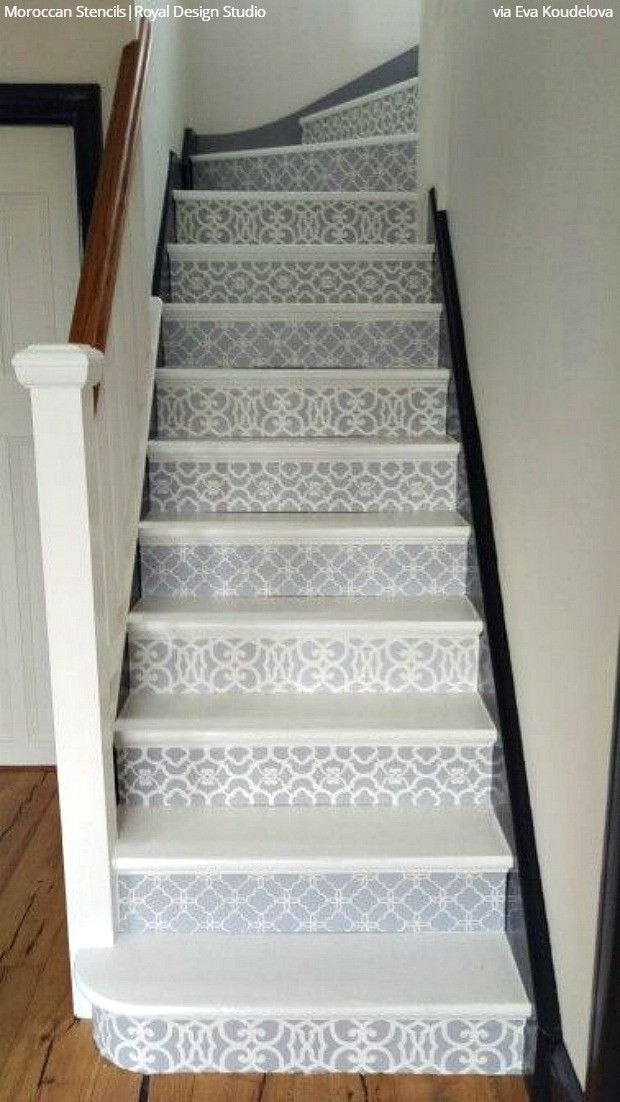 Best 25 stenciled stairs ideas on pinterest painted for Painted stair treads