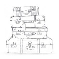 black and white suitcase clipart - Google Search…