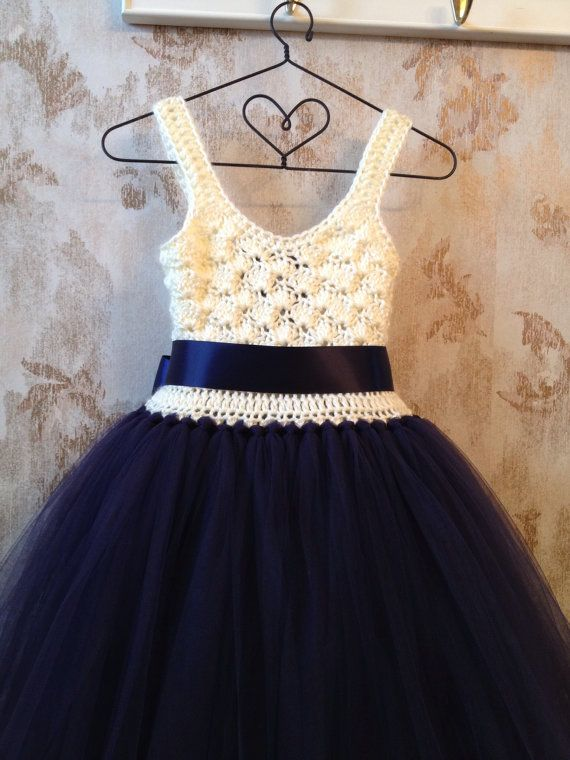 Imperio azul marino y marfil tobillo tutu vestido vestido por Qt2t