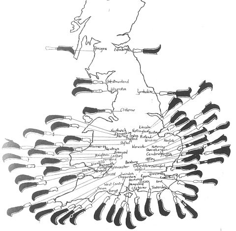 English billhooks - Regional patters from 'Countryman' by Jack Wilson.