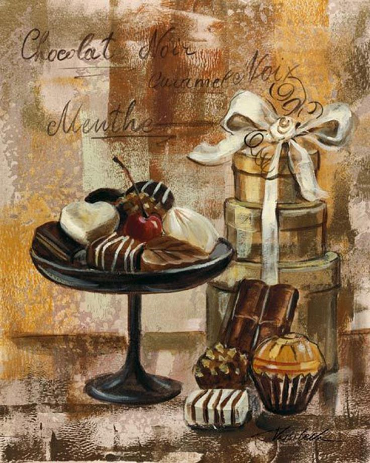 Открытки с днем рождения женщине с тортом вином и кофе