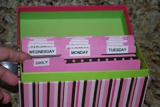 "Organize your cleaning schedule in a cute ""cleaning box"".  Use index cards to write out tasks and plan your schedule on a daily, weekly, and monthly basis."