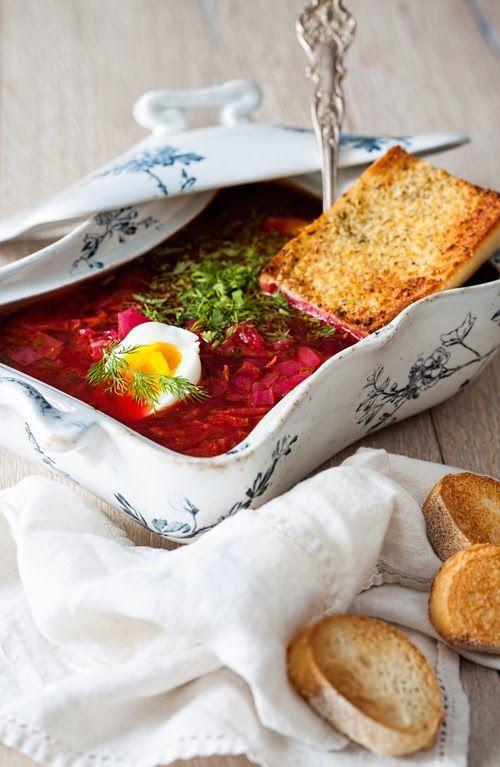 Russian Monday: Borscht with Chicken & Egg at Cooking Melangery