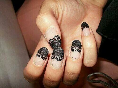 141 best nail art images on pinterest beauty nail scissors and i love the black lace tips this makes me want to have long nails again prinsesfo Image collections