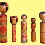 5 de las 10 kokeshi tradicionales