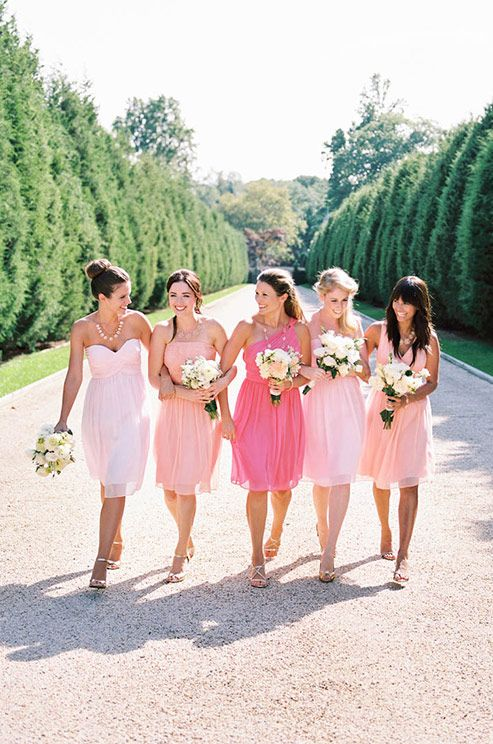 Ombre pink bridesmaids. Donna Morgan, Spring 2014