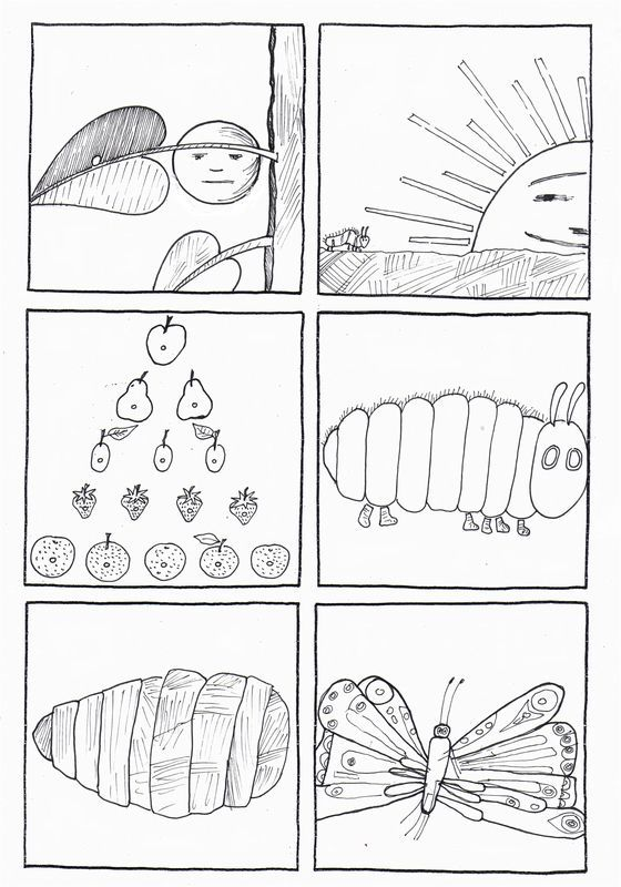 Sequence drawings of Hungry Caterpillar