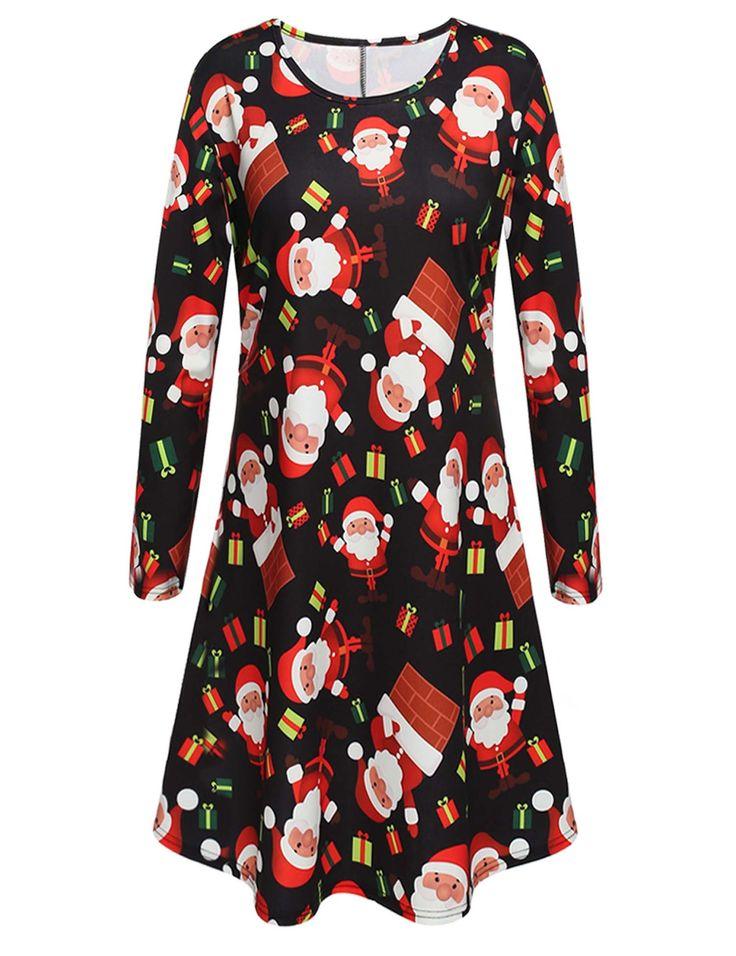 Women Cute Round Neck Long Sleeve Christmas Print Dress