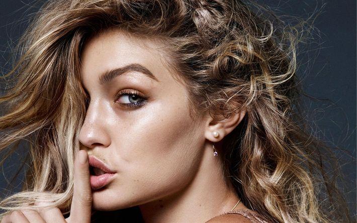 Download wallpapers Gigi Hadid, photoshoot 2018, American supermodel, portrait, face, blonde, make-up, Jelena Noura Hadid