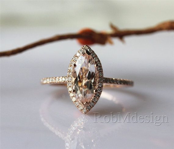 Stackable VS 1.0ctw Marquise Cut Morganite Ring by RobMdesign