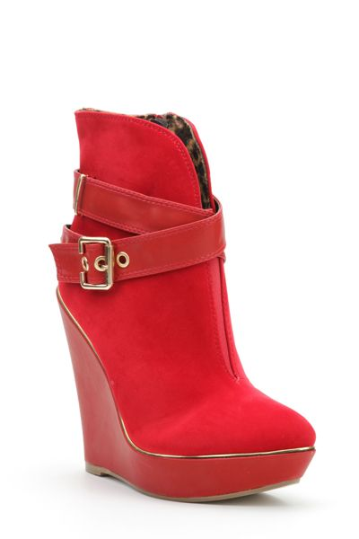 Double Buckle Strap Wedge Ankle Boots - women&39s cheap shoes
