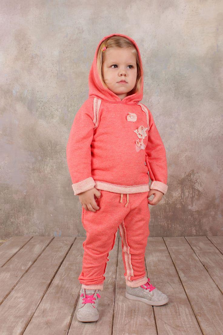 Детский спортивный костюм для девочки кораллового цвета купить