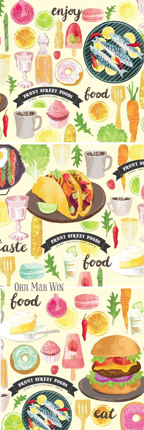 Front Street Foods Banner - Toronto Union Station — Ohn Mar Win Illustration t...