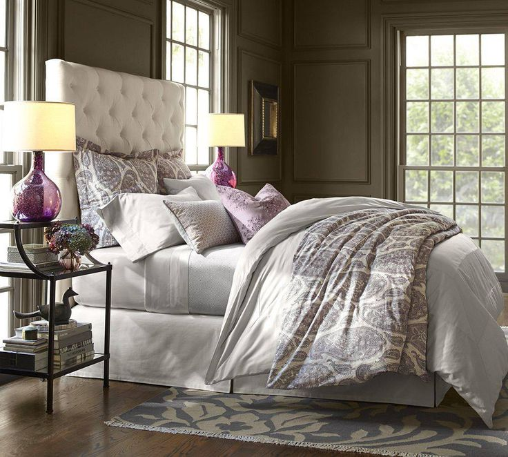 grey purple taupe pottery barn bedroom grey tapue